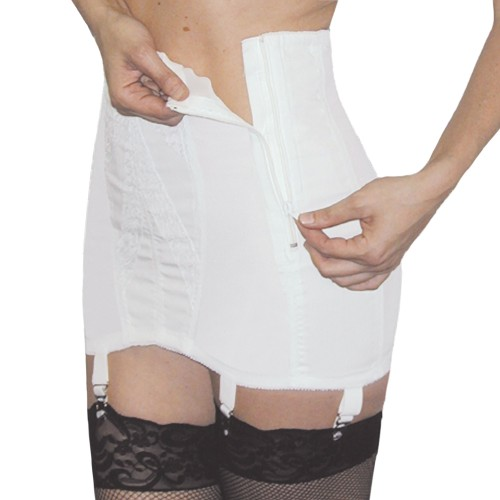 Rago Extra Firm Side Zip Open Bottom Girdle White