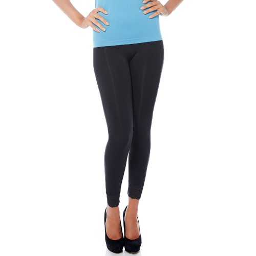 Rhonda Shear Ahh Lovely High Waist with Lace Cuff Legging Black Front