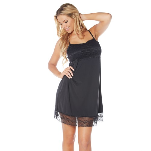 Rhonda Shear Sweet Tart Butterknit Lace Shelf Tank Night Gown Black Front