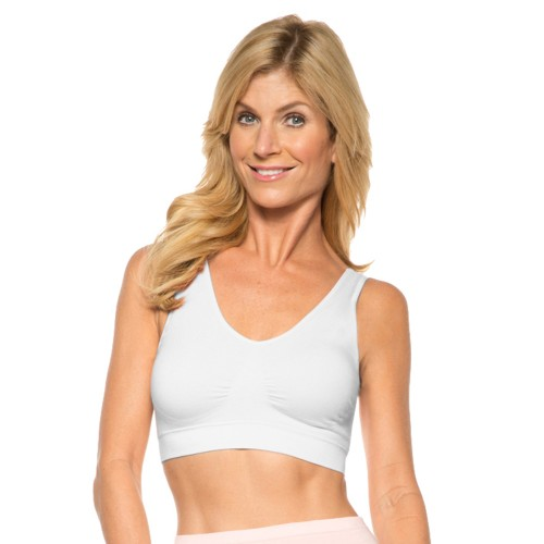 Rhonda Shear Ahh Seamless Wire Free with Pads Cotton Blend Bra Style 9704