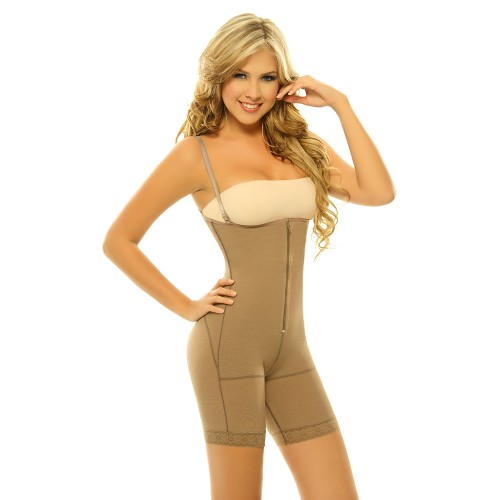 Siluet Postsurgical Slimming Braless Mid-Thigh Body Shaper Cocoa Front