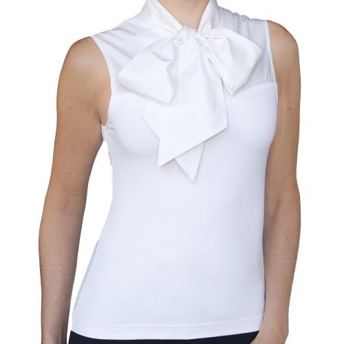 SkinnyShirt Bow Tie Collar White Bow Front
