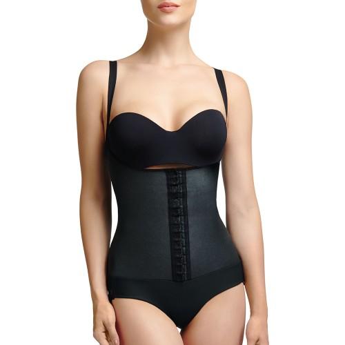 Squeem Brazilian Flare Open Bust Bodysuit Black Front