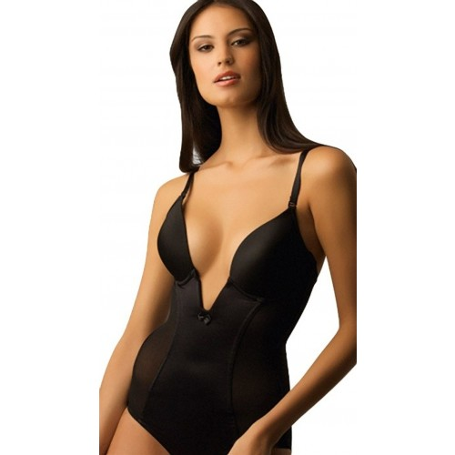 Va Bien Ultra-Lift Low Plunge Body Briefer Black Front