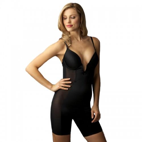 Va Bien Ultra-Lift Low Plunge Long Leg Bodysuit Black Front
