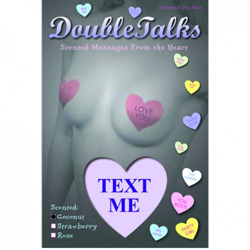 Bring It Up DoubleTalks TEXT ME Heart Shaped Scented Nipple Covers