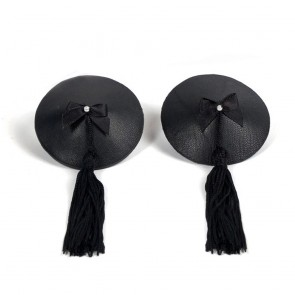 Bijoux Indiscrets Burlesque Black Leather with Tassel Pasties