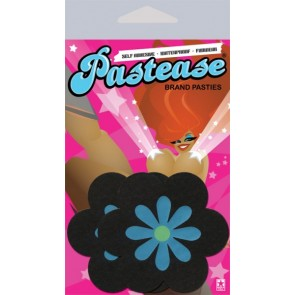 Pastease Black with Turquoise Flower Nipple Covers