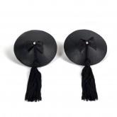 Bijoux Indiscrets Burlesque Black Leather with Tassel Pasties