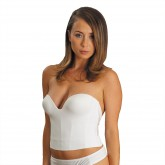 Carnival Invisible Low Plunge Longline Bra White Front