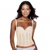 Dominique Satin and Lace Longline Bra Bone Front