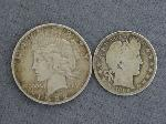 Lot: 2303 - 1922 PEACE DOLLAR & 1899-O BARBER HALF