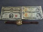 Lot: 2327 - 1934 $5 SILVER CERT. & (2) RED SEAL $2 NOTES