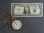 Lot: 2336 - ILLINOIS POCKET WATCH & '57 BLUE SEAL $1