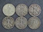 Lot: 2339 - (6) 1942-1946 WALKING LIBERTY HALVES