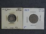 Lot: 2350 - 1857 SEATED LIBERTY DIME & 1883 SHIELD NICKEL