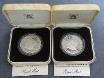 Lot: 2386 - (2) FALKLAND ISLANDS SILVER PROOFS