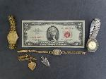Lot: 2398 - WRIST WATCHES & 1963 RED SEAL $2 BILL