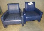 Lot: 30-076 - (2) Blue Lounge Chairs