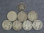 Lot: 2419 - 1847 SEATED LIBERTY HALF & (7) MERCURY DIMES