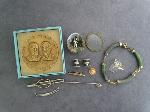 Lot: 2427 - BRACELET, STICK PIN & 14K LADIES RING