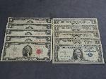 Lot: 2444 - (5) 1935-1957 BLUE SEAL $1 SILVER CERTS