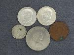 Lot: 2452 - (2) 1964 KENNEDY HALVES & FOREIGN COINS