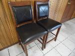 Lot: A5574 - Two Leather Bar Stool Chairs