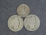 Lot: 2453 - 1903 & 1906 BARBER HALVES & 1853 SEATED LIBERTY QUARTER