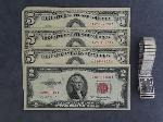 Lot: 2484 - (3) 1963 $5 RED SEAL & 1953 $2 RED SEAL STAR NOTES