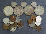 Lot: 2487 - (4) PEACE DOLLARS, 1904 V NICKEL & FOREIGN COINS