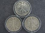 Lot: 2502 - (3) WALKING LIBERTY HALF DOLLARS 1937, 1942 & 1943