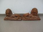 Lot: 172 - (2) Lion Statues