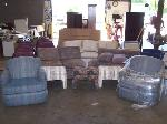 Lot: 06 - Couches, Chairs & Foot Stools