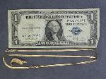 Lot: 2518 - 14K CHAIN & 1935 $1 SILVER CERTIFICATE