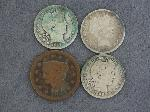 Lot: 2526 - (3) 1895-1913 BARBER QUARTERS & 1847 LARGE CENT