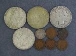 Lot: 2567 - (4) PEACE DOLLARS & 1912-S BARBER DIME
