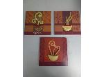 Lot: 126-128.HO - (3) Coffee Wall Décor Pieces, (4) Wooden Offering Plates & Rejoice Picture