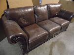 Lot: A5593 - Full Size Brown Leather Sofa
