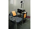 Lot: 75.UVALDE - OVERHEAD PROJECTOR, CART & CHAIRS