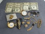 Lot: 2695 - ELGIN POCKET WATCH & SILVER CERTIFICATES