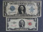Lot: 2704 - 1923 BLUE SEAL LARGE $1 SIL. CERT. & 1953 $2 RED SEAL