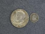 Lot: 2732 - 1854 SEATED LIBERTY HALF DIME & 1964 KENNEDY HALF