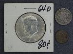 Lot: 2734 - 1868 THREE CENT NICKEL & 1964 KENNEDY HALF