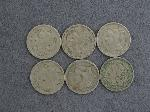 Lot: 2735 - (6) 1865 THREE CENT NICKELS