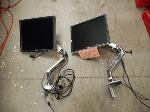 Lot: 1290 - (2) Articulating Monitor Stands & Monitors