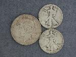 Lot: 2789 - 1923 PEACE DOLLAR & (2) 1937-1938 LIBERTY HALVES