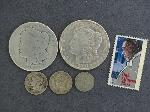 Lot: 2799 - (2) 1884-O & 1921 MORGAN DOLLARS & 1866 3 CENT NICKEL