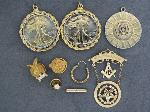 Lot: 2804 - (2) LIBERTY HALF PENDANTS, 14K EARRING & 14K TIE TAC