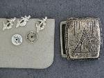 Lot: 2805 - STERLING PINS, BELT BUCKLE & 14K PIN